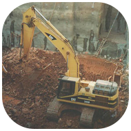 Excavator Digging on a Construction Site